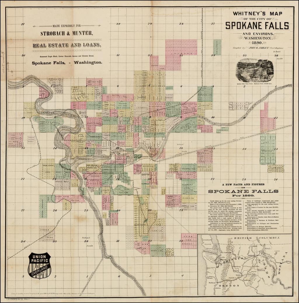 Whitney's Map of the City of Spokane Falls and Environs.  Washington, 1890. By John K. Ashley
