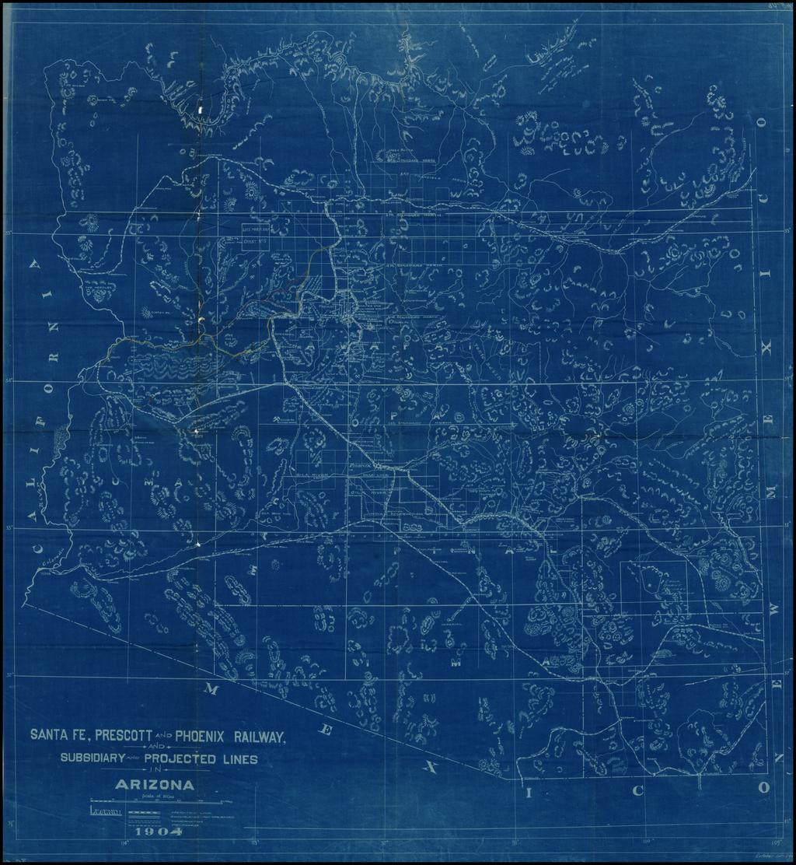 Map of the Santa Fe, Prescott and Phoenix Railway, Subsidiary and Projected Lines in Arizona.  1904. By Santa Fe Railroad