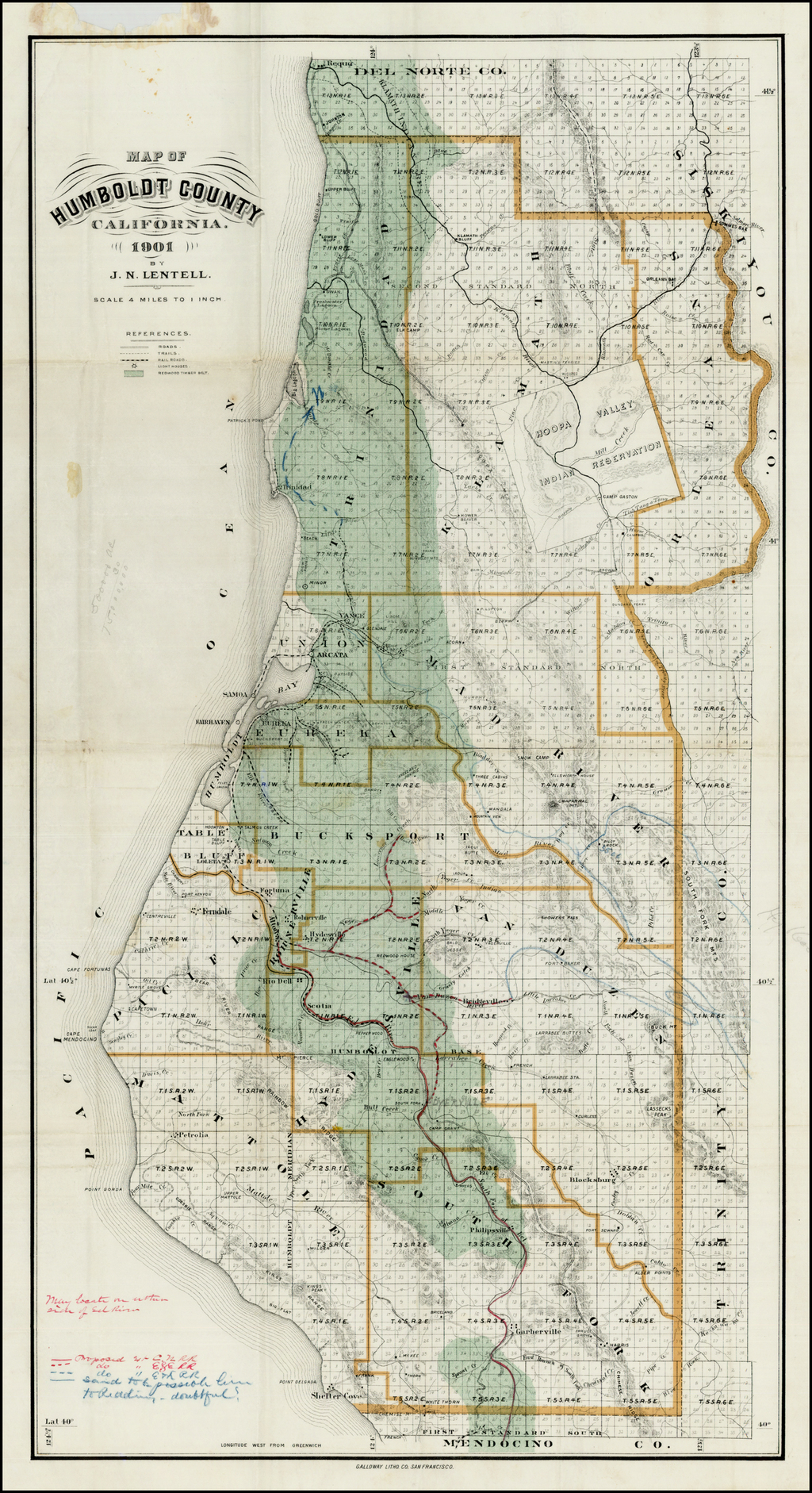 Map Of Humboldt County California 1901 By J N Lentell Barry
