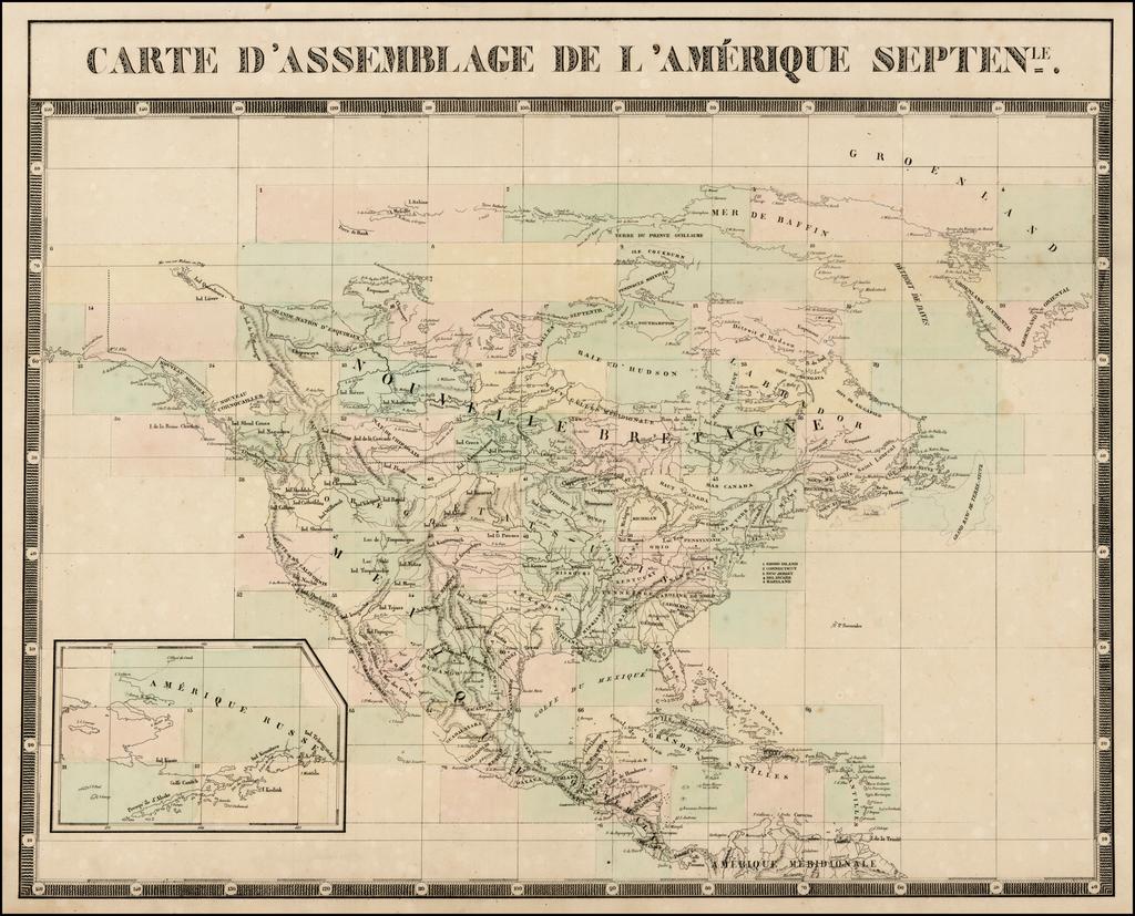 Carte D'Assemblage De L'Amerique Septentrionale By Philippe Marie Vandermaelen