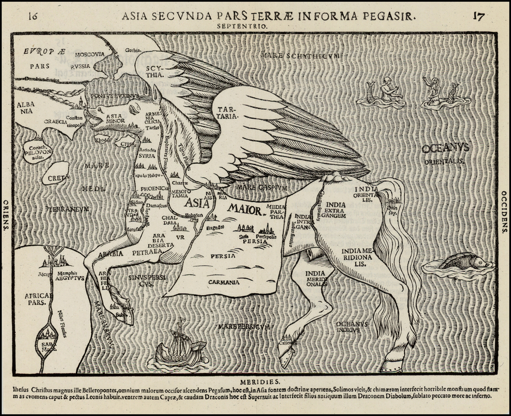 Asia Secunda Pars Terrae in Forma Pegasi [Asia in the Form of Pegasus] By Heinrich Bunting
