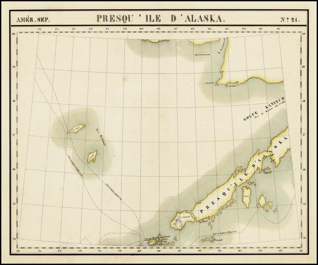 Presqu ' Ile D 'Alaska  Amer. Sep. No. 21.  (Aleutian Islands) By Philippe Marie Vandermaelen