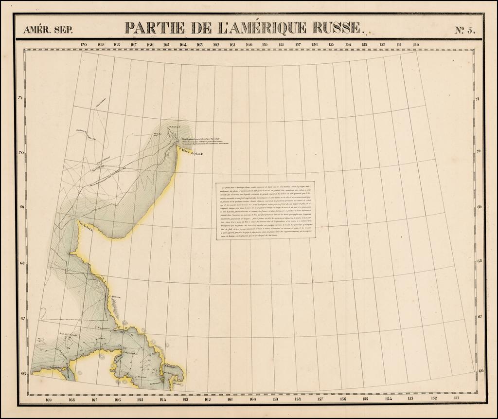 Amer. Sep. No. 5.  Partie De L'Amerique Russe By Philippe Marie Vandermaelen