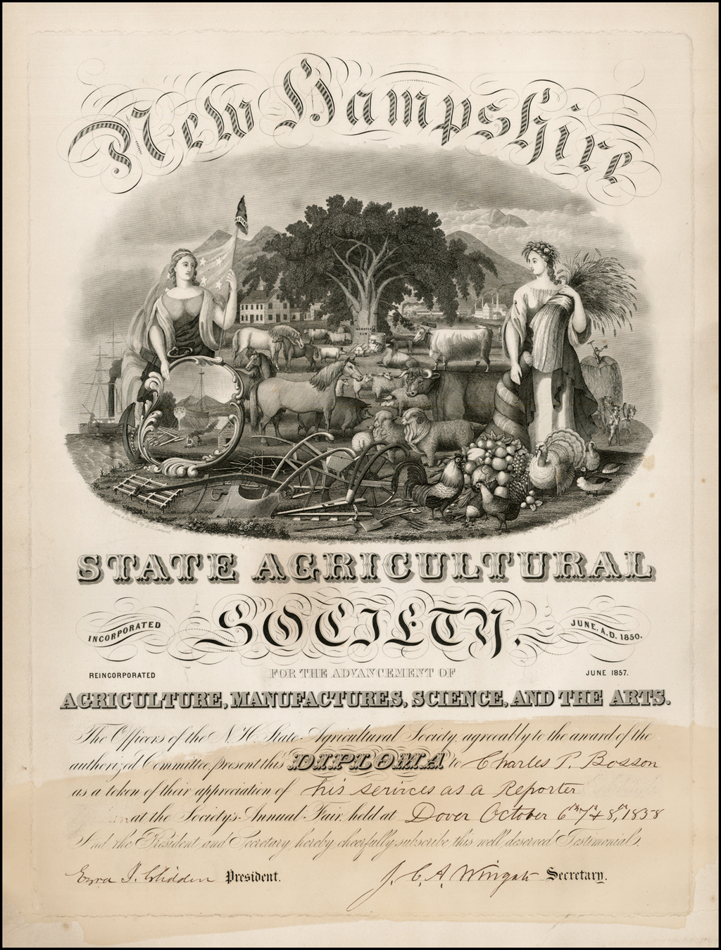 New Hampshire State Agricultural Society . . . Diploma  By Anonymous