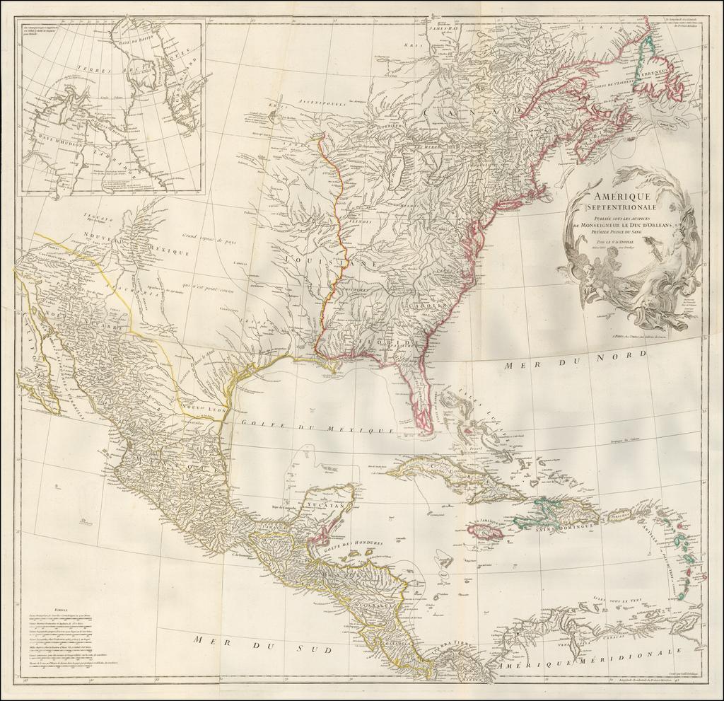 Amerique Septentrional Publiee Sous  Les Auspices De Monseigneur Le Duc D'Orleans . . . MDCCXLVI By Jean-Baptiste Bourguignon d'Anville