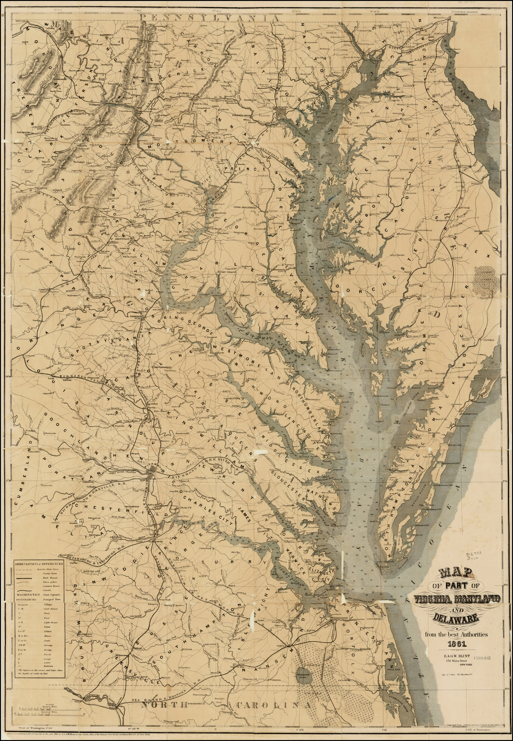 Map of Part of Virginia, Maryland and Delaware from the best Authorities 1861. By E & GW Blunt