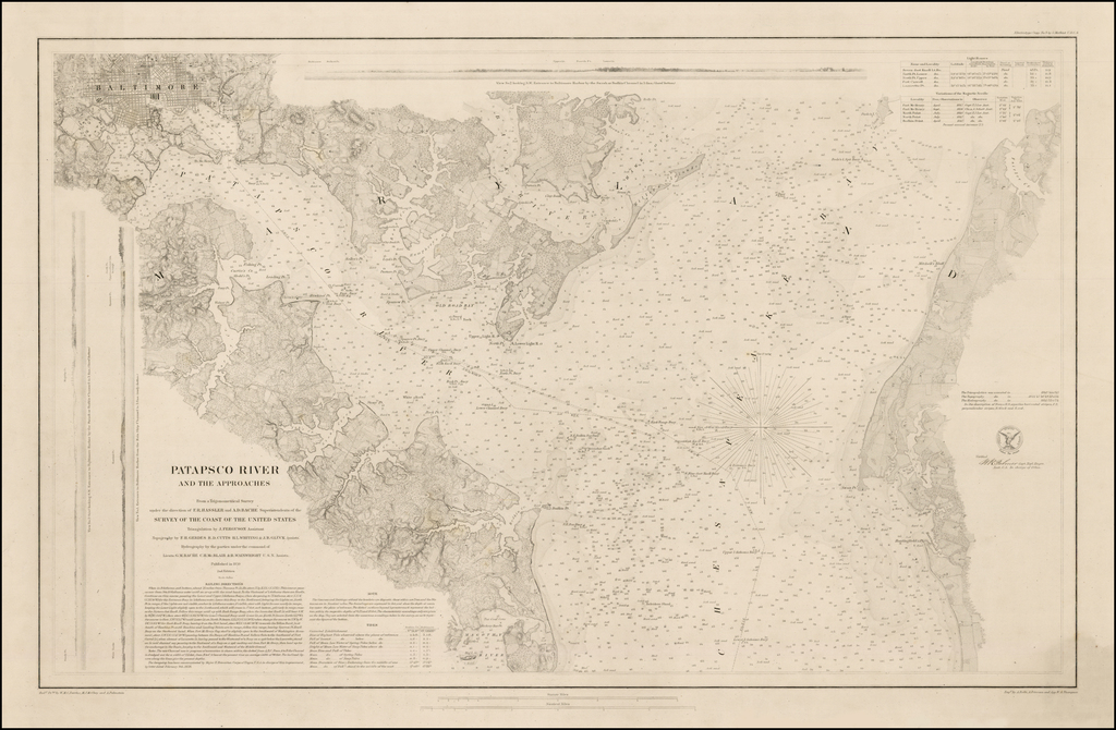Patapsco River and Approaches from a Trigonometrical Survey under the Direction of F.R. Hassler and A.D. Bache . . . 1861  [Rare Thick Paper Electrotype Edition!] By United States Coast Survey