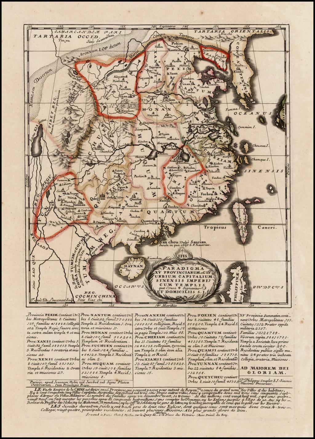 Paradigma XV Provinciarum et CLV Urbium Capitalium Sinensis Imperij Cum Templis quae Cruce X Signatur Et Domiciliis S.I. By Jean-Baptiste Nolin