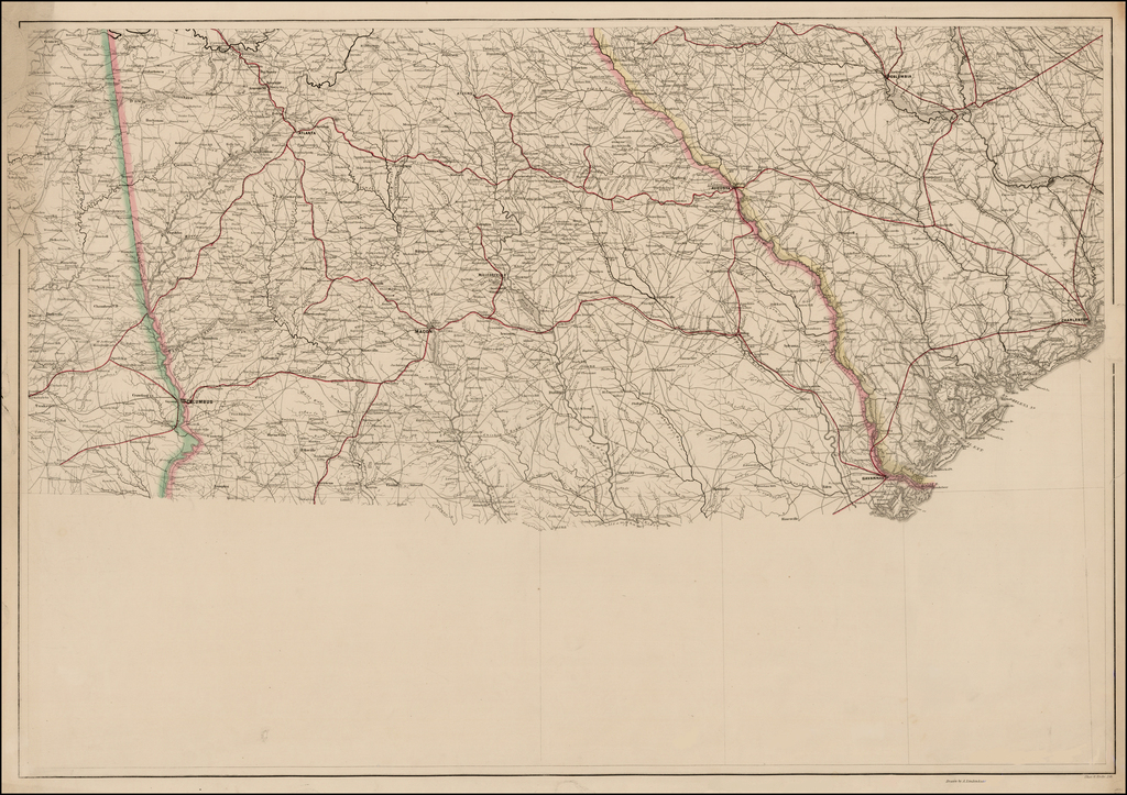 (Georgia and Part of South Carolina)   (Rare Variant State!) By Adolph Lindenkohl