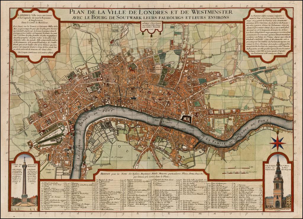 Plan de la Ville de Londres et de Westminster avec Le Bourg de Soutwark Leurs Faubourgs et Leurs Environs . . . 1727 By Guillaume Danet