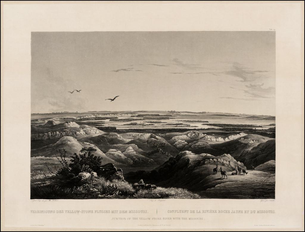 Junction of the Yellow Stone River with the Missouri | Vereinigung Des Yellow-Stone Flursses Mit Dem Missouri  |  Confluent de la Riviere Roche Jaune et du Missouri By Karl Bodmer