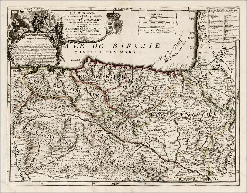 La Biscaye Divisee en ses 4 Parties principales et Le Royaume de Navarre Divise en ses Merindades . . . 1700 By Jean-Baptiste Nolin