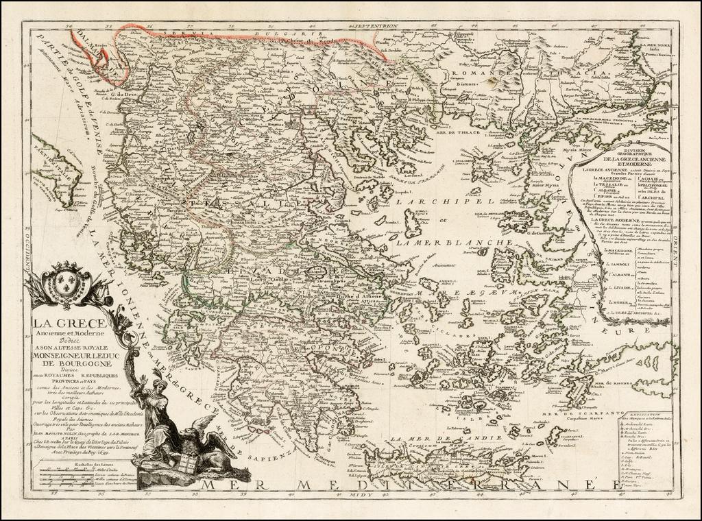 La Grece Ancienne et Moderne Dediee Ason Altesse Royale . . . Divisee en ses Royaumes Republiques Provindes et Pays . . . 1699 By Jean-Baptiste Nolin