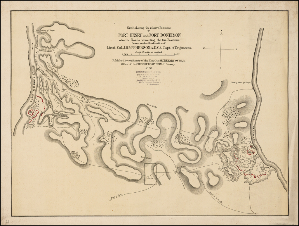Sketch showing the relative Positions of Fort Henry and Fort Donelson also the Roads connecting the two Positions.  Drawn under the direction of Lieut. Col. J.B. McPherson A. D. C. & Capt. of Engineers . . .  1875 By United States War Dept.