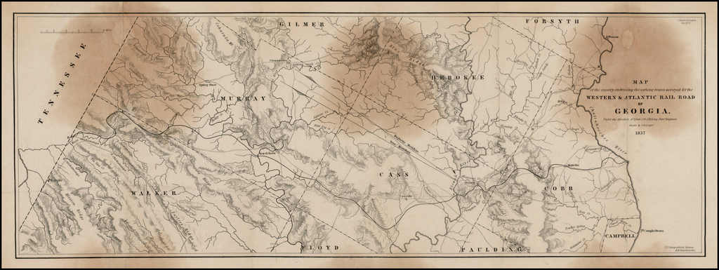 Map of the country embracing the various routes surveyed for the Western & Atlantic Rail Road of Georgia.  Under the direction of Lieut. Co. S.H. Long Chief Engineer  Drawn by J.F. Cooper 1837 By U.S. Topographical Bureau