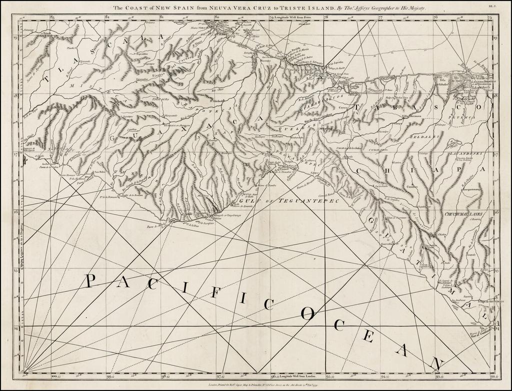 The Coast of New Spain from Neuva Vera Cruz to Triste Island . . . . By Thomas Jefferys