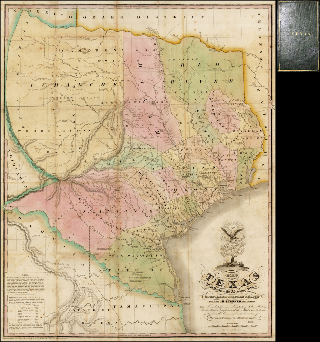 20x24 Historic 1837 Map of Republic of Texas Land Grants by Stephen F Austin