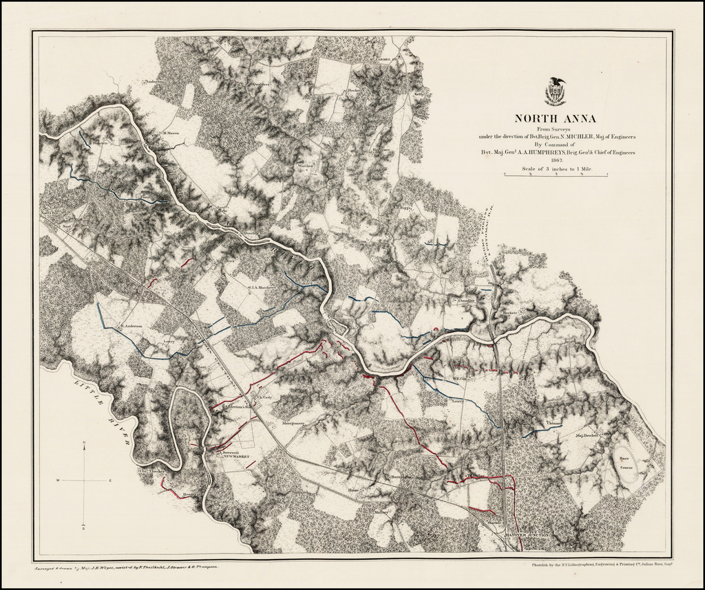 North Anna From Surveys under the direction of Bvt. Brig. Gdn. N. Michler . . . By Command of Bvt. Maj. Genl. A.A. Humphreys . . . 1867 By United States War Dept.