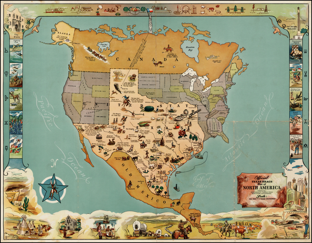 Official Texas Brags Map of North America . . . Scale One ...