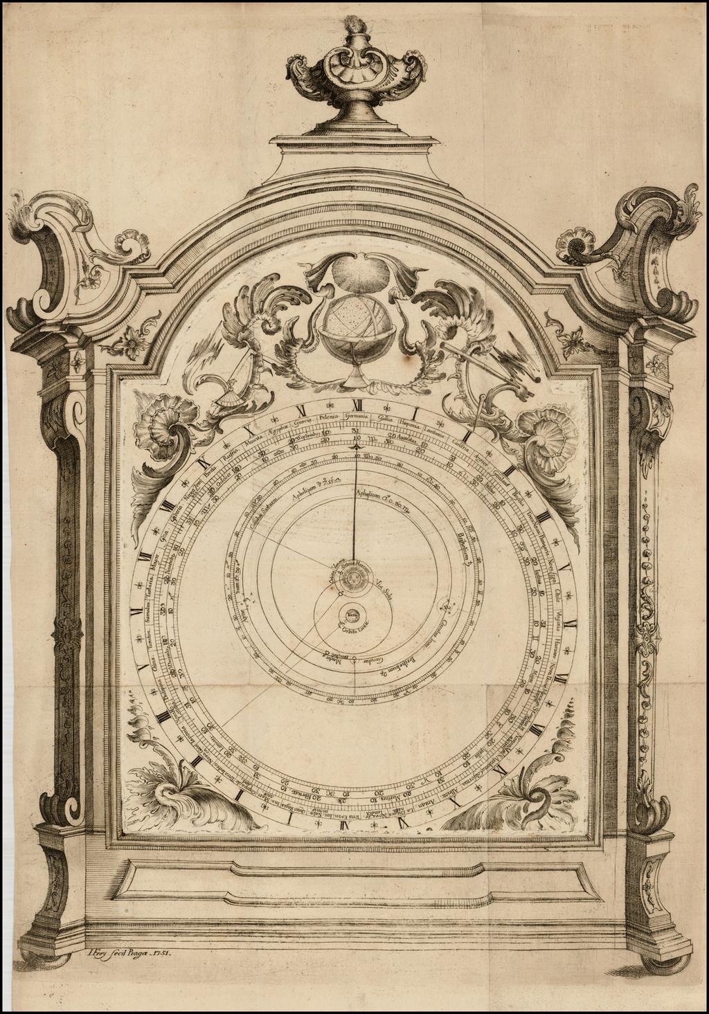 [Tycho Brahe Celestial Model & Time Clock] By Ignaz Frey