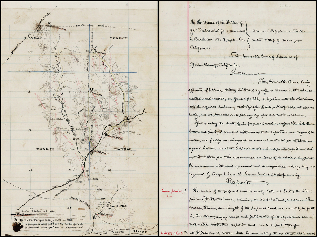 (Sicard Flat, Smith Valley, Yuba County California  / Manuscript Map and Petition To Build Road) By Anonymous