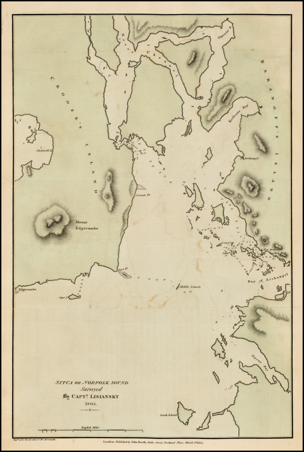 Sitca or Norfolk Sound Surveyed By Captn. Lisiansky 1805 By Yuri Federovich Lisiansky
