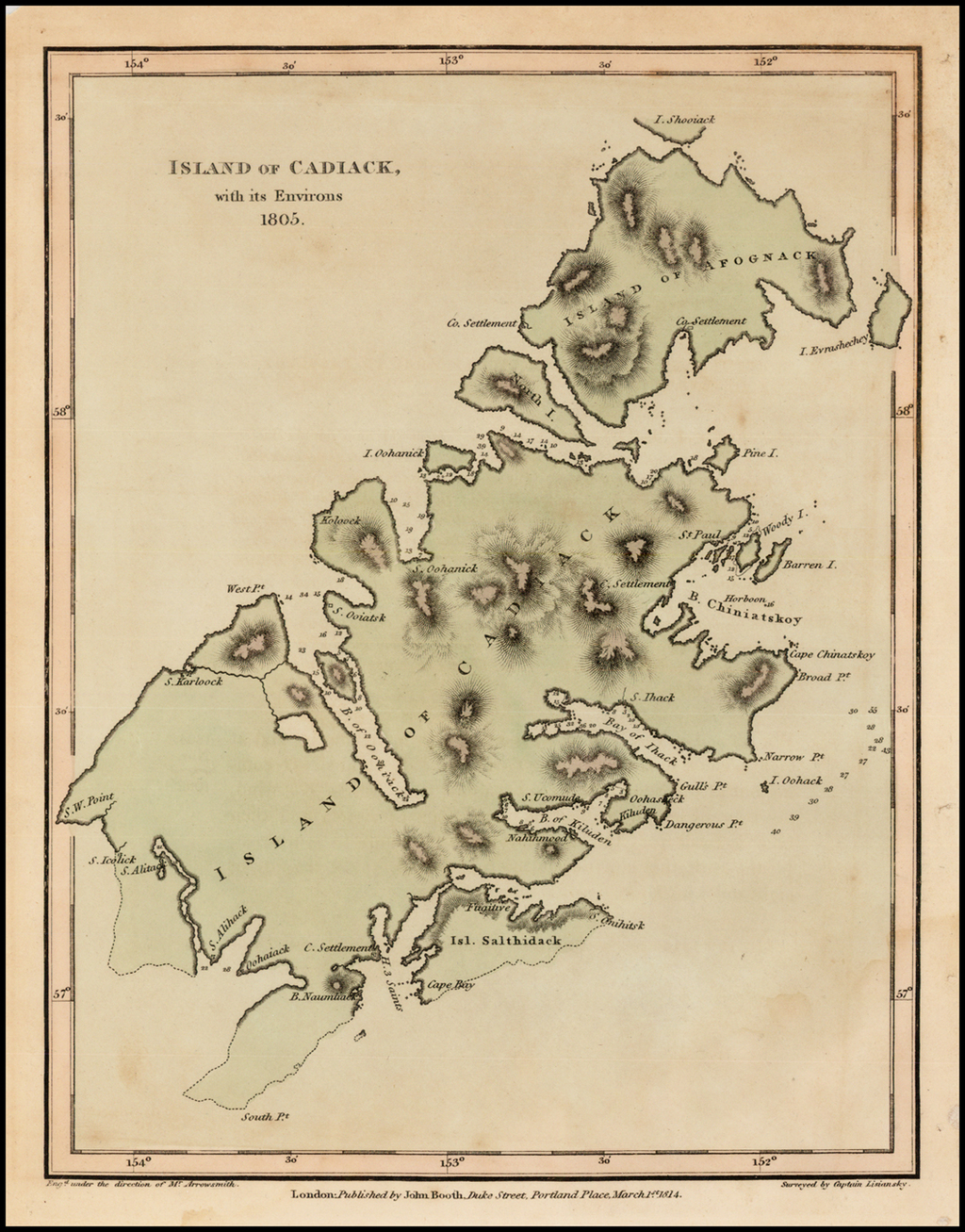 Island of Cadiack, with its Environs  1805 (Kodiak Island