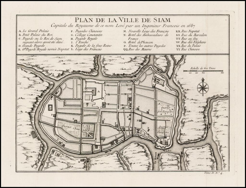 Plan de la Ville de Siam Capitale du Royaume de ce nom Leve par un Ingenieur Francois en 1687 By Jacques Nicolas Bellin