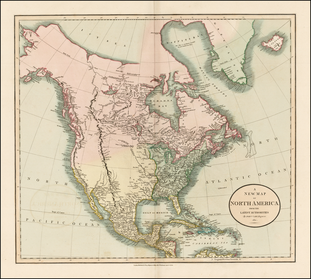 A New Map of North America From The Latest Authorities . . . 1811 By John Cary