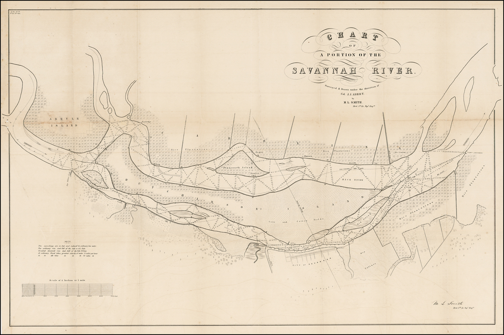 Chart of a Portion of the Savannah River.  Surveyed & Dawn under the direction of Col. J.J. Abert by M.L. Smith By C.B. Graham