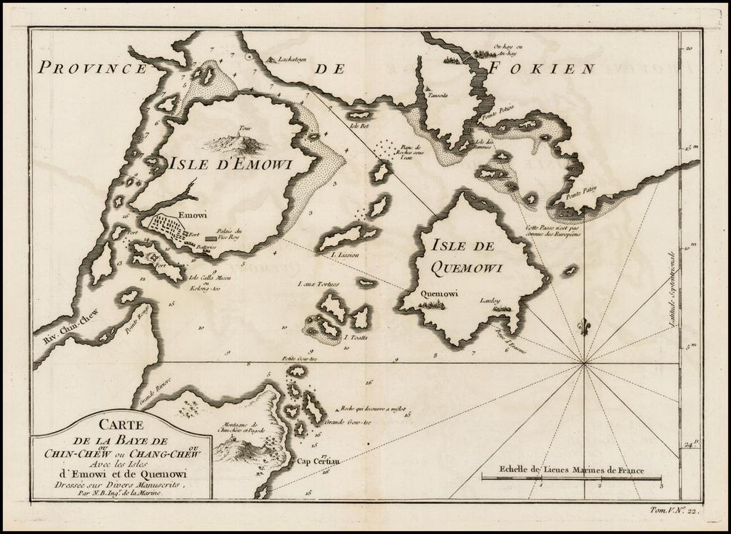 Carte de la Baye de Chin-Chew ou Chang-Chew avec les Isles d'Emowi et de Quemowi ... By Jacques Nicolas Bellin