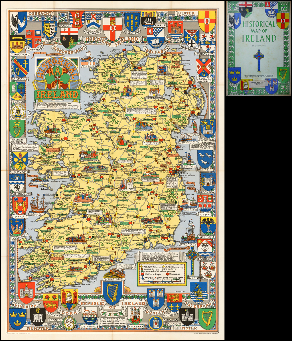 Map Of Ireland Historical Sites.Historical Map Of Ireland Barry Lawrence Ruderman Antique Maps Inc
