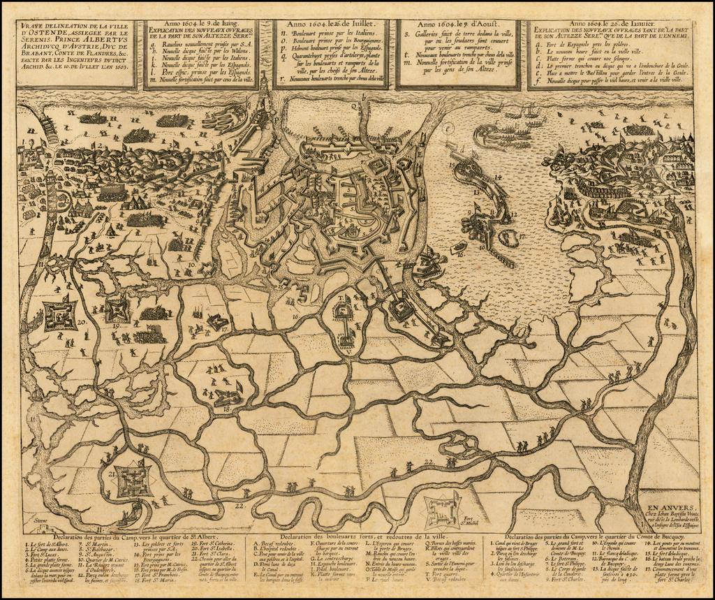 Vraye delineation de la ville d'Ostende, assiegée par le Serenis. Prince Albertus Archiducq d'Austrie, Duc de Brabant, Conte de Flandres, &c. faicte par les ingenieurs du dict Archid. &c. le 10. de Iullet l'an 1603 By Johannes Baptista Vrients
