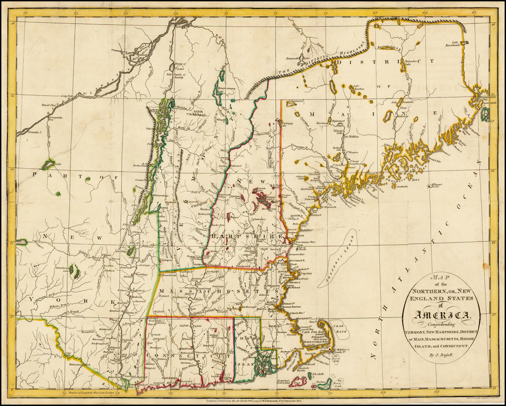 Map of the Northern, or, New England States of America ...