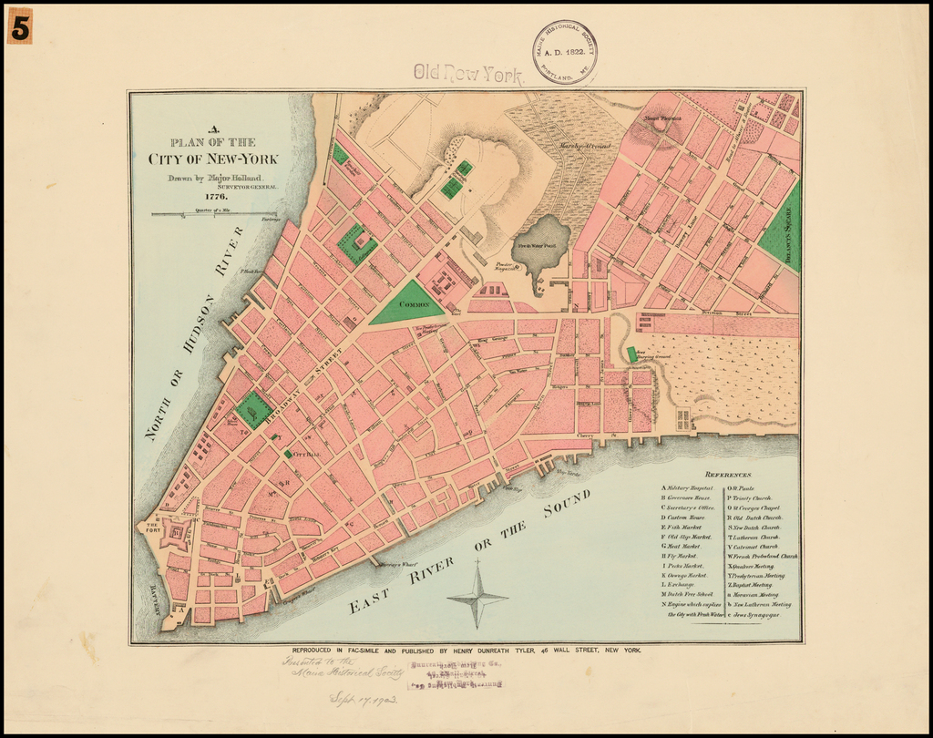 A Plan Of The City Of New-york Drawn By Major Hollan  Surveyor General  1776