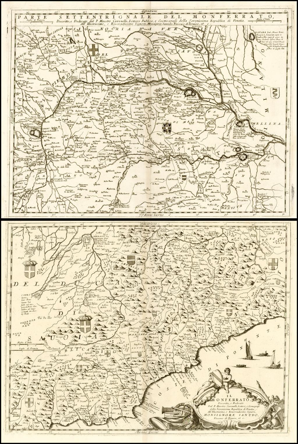 Il Monferrato . . . [and] Parte Settentrionale Del Monferrato By Vincenzo Maria Coronelli