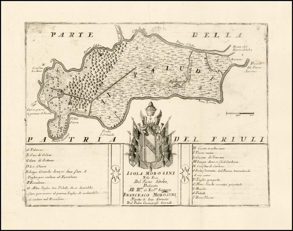 Isola Morosini Nell Foci Del Fiume Sdoba, Dedicato All: Illsmo:, et Eccmo: Signore Franceso Morosini . . .  By Vincenzo Maria Coronelli