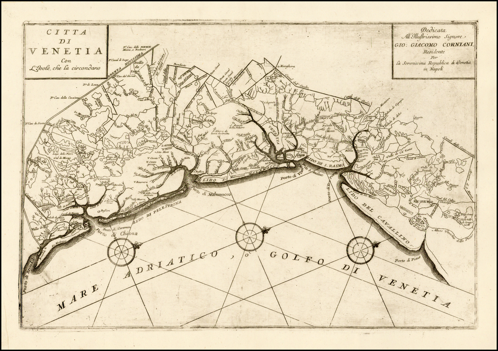 Citta Di Venetia Con L'Isole che la circondano By Vincenzo Maria Coronelli