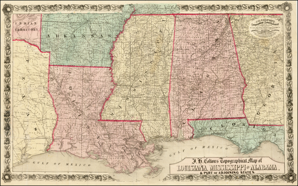 Picture of: J H Colton S Topographical Map Of Louisiana Mississippi And Alabama Part Of Adjoining States Barry Lawrence Ruderman Antique Maps Inc