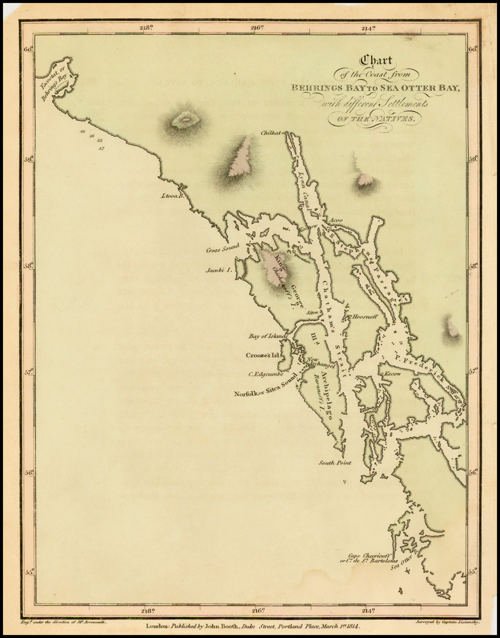 [Alaskan Panhandle] Chart of the coast from Behrings Bay to Sea Otter Bay, with different Settlements of the Natives. By Aaron Arrowsmith / Yuri Federovich Lisiansky