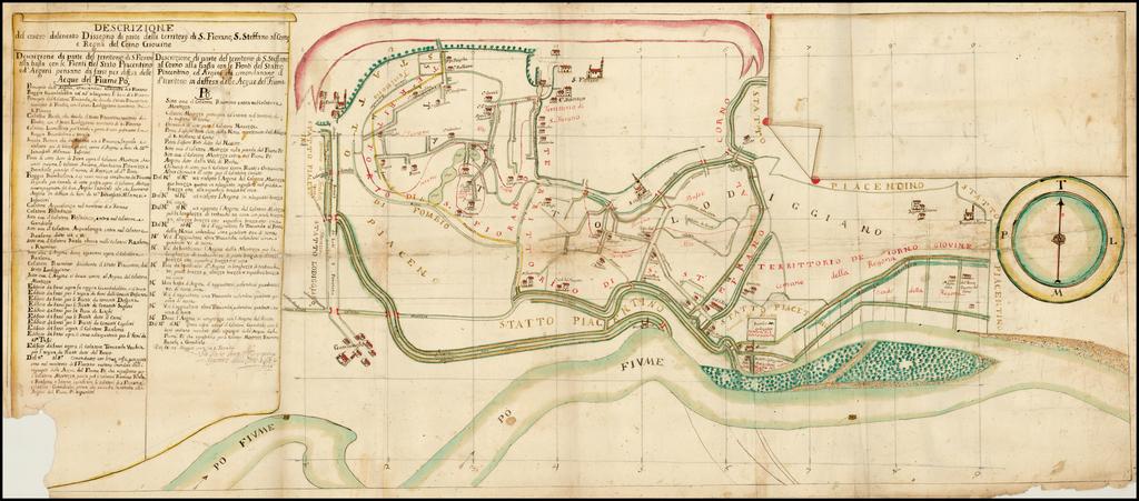 Descrizione del contro Dissegno di parte delli territorij di S. iovano, S. Steffano al Como, e Regna del Corno Givine By Anonymous