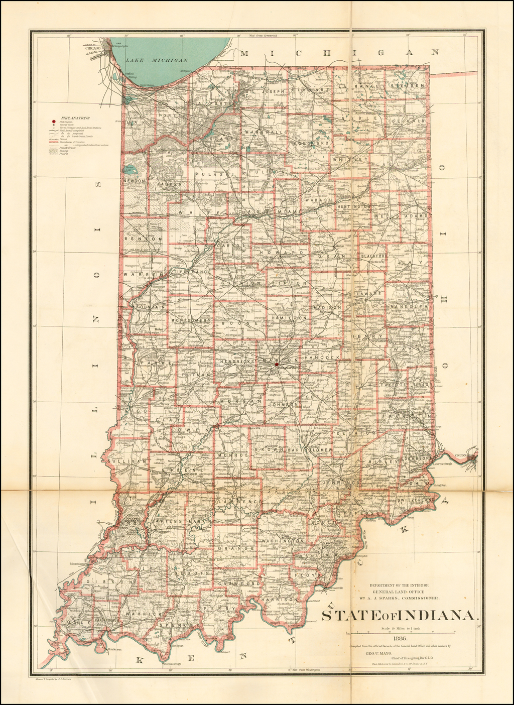 State of Indiana . . . 1886.  Compiled from the official Records of the General Land Office . . . Drawn and Compiled by A. F. Dinsmore. By General Land Office