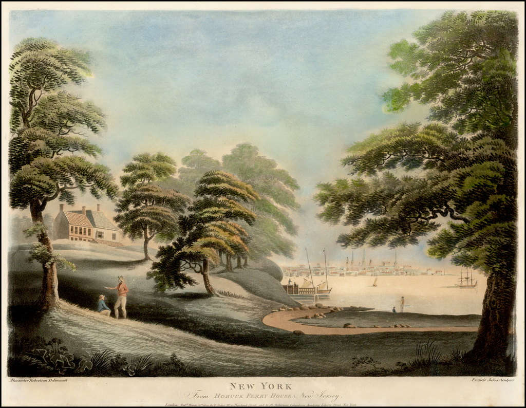 New York From Hobuck Ferry House New Jersey  (Rare View of New York City) By Alexander Robertson