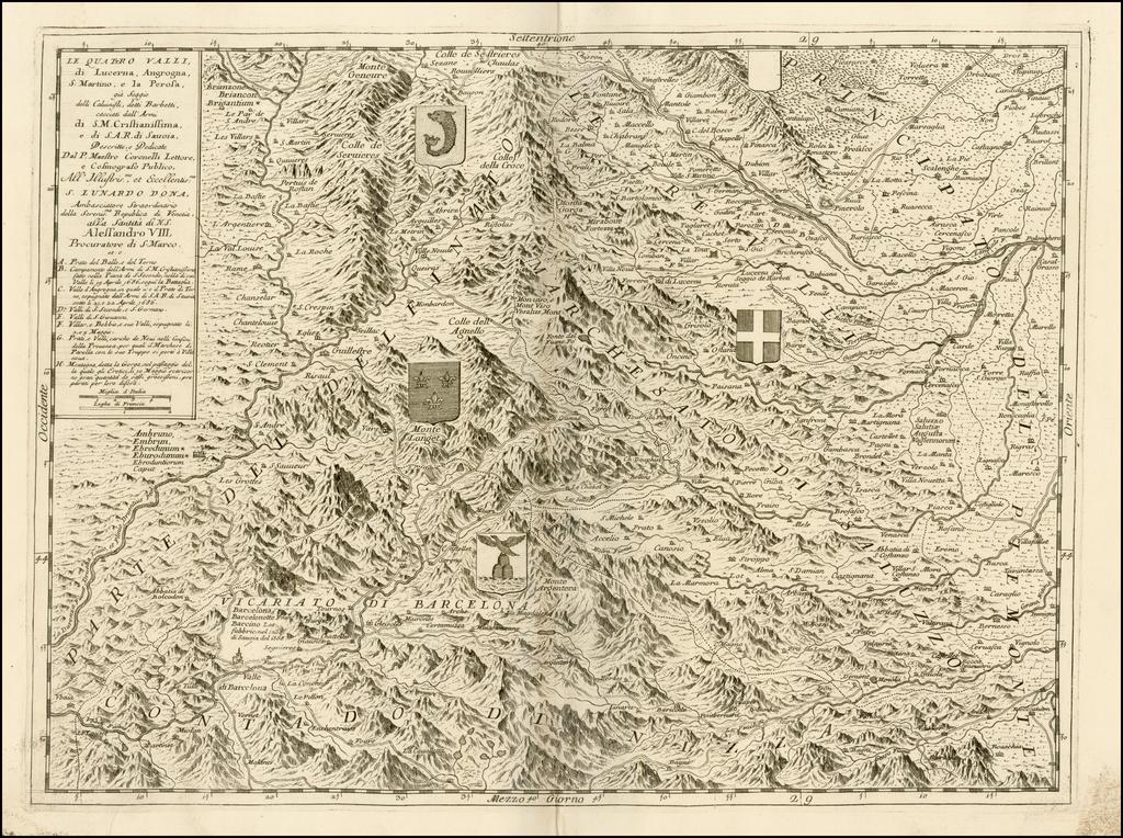 Le Quattro Valli di Lucerna, Angrogna, S. Marino, el la Perosa . . .  By Vincenzo Maria Coronelli