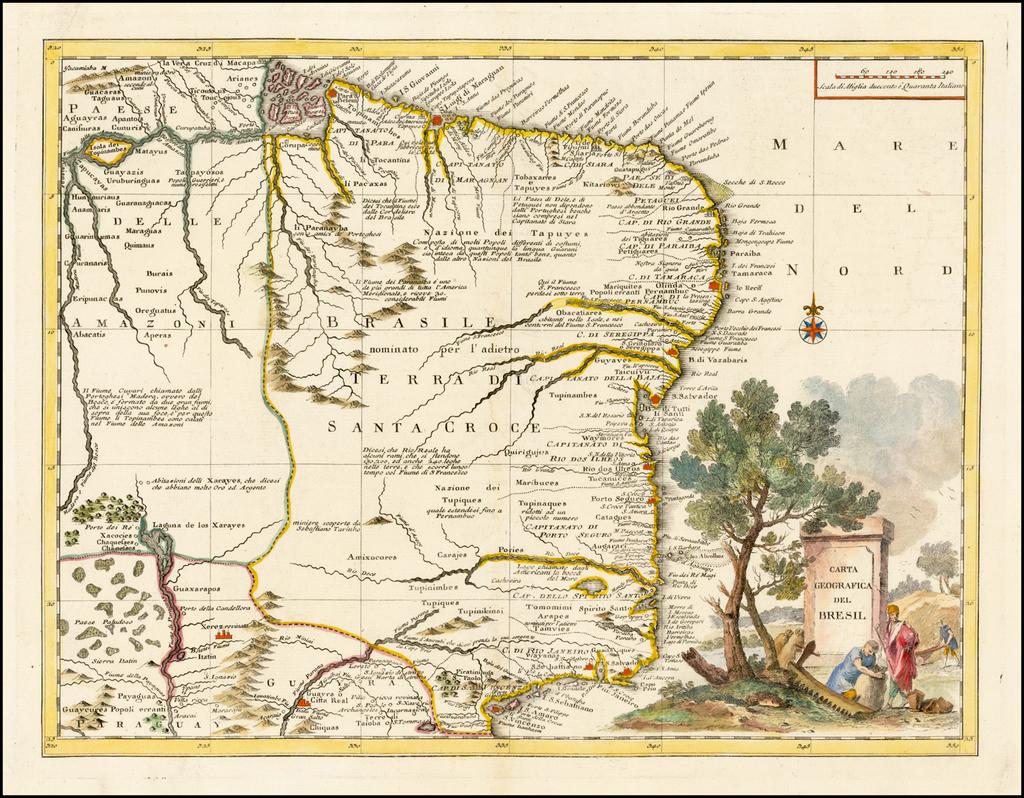 Carta Geographica Del Bresil By Giambattista Albrizzi