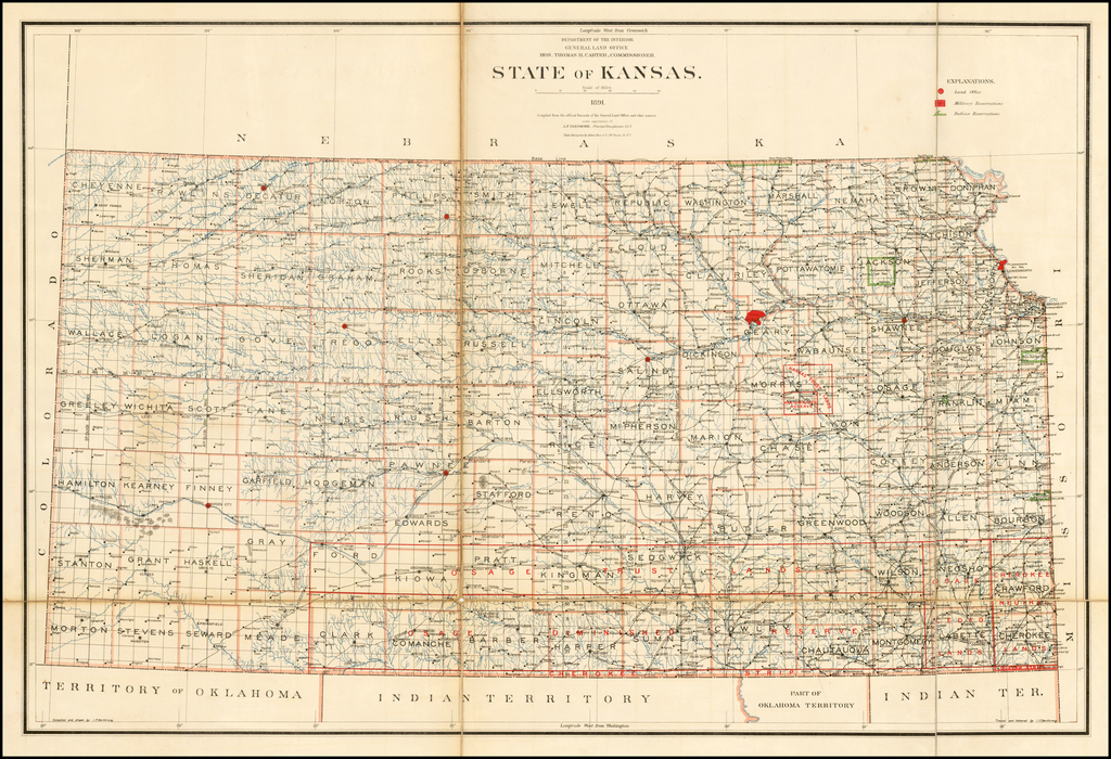 State of Kansas . . . 1891.  Compiled from the official Records of the General Land Office and other sources . . . By U.S. General Land Office