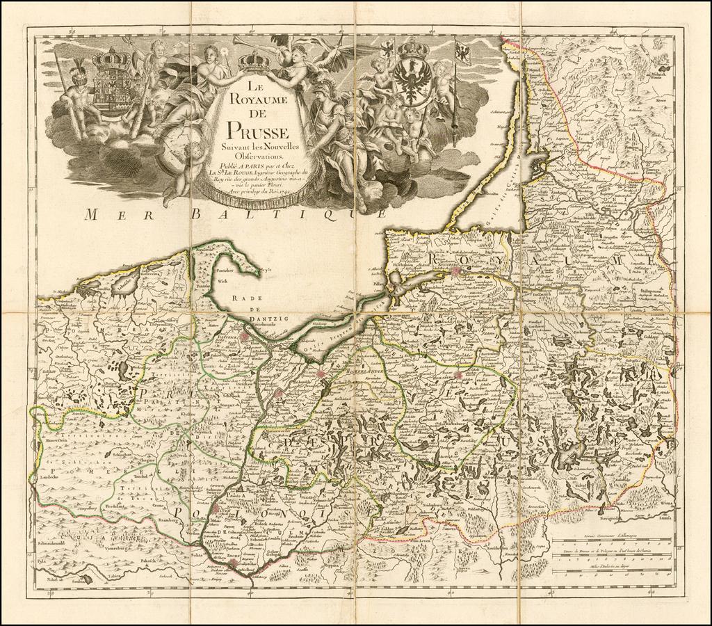 Le Royaume de Prusse Suivant les Nouvelles Observations . . . 1742  (rare separately issued example) By George Louis Le Rouge