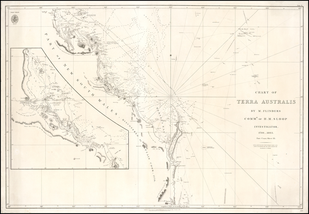 Chart of Terra Australis By M. Flinders Commr. of H.M. Sloop Investigator.  1799-1803.  East Coast, Sheet 3.  With Additions By Commr. Philip F. King 1826. Captn F.P. Blackwood 1844 and Captn O. Stanley 1847. By British Admiralty