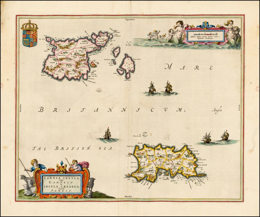 Sarnia Insula vulgo Garnsey et Insula Caesarea venacule Jarsey  (Gold Leaf Highlights) By Johannes Blaeu