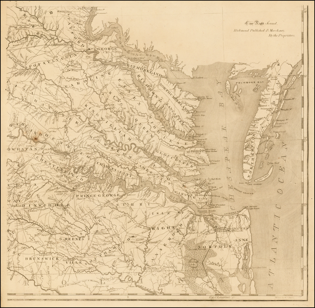 Tidewater Sheet (1 sheet only of 8 sheets), A Map of Virginia Formed from Actual Surveys, and the Latest as well as the most accurate observations  By Frederick Bossler / Bishop James Madison